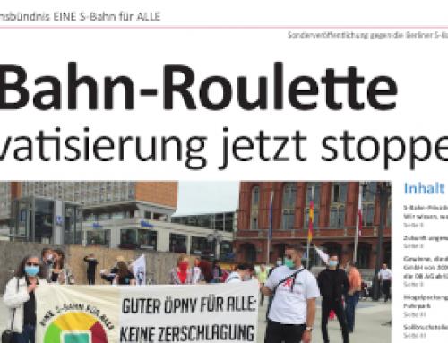 Heute in der taz: Beilage gegen S-Bahn-Privatisierung